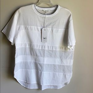 NWT Assembly label white linear short sleeve shirt